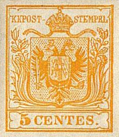 Francobollo raro 5 cent Regno Lombardo Veneto