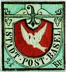 Francobolli rari Basel Dove Svizzera 1845
