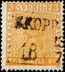francobollo raro Three-Skilling Yellow svezia 1855