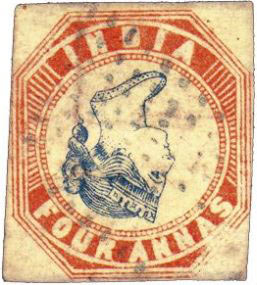 francobollo raro indiano Four Annas Inverted1854
