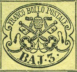 francobolli-vaticano-rari-Francobollo-da-3-bajocchi-dello-stato-Pontificio