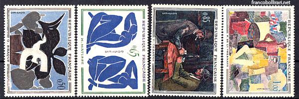 Francobolli rari francesi - Braque Matisse Cezanne De la Fresnaye