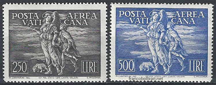 Francobollo Arcangelo e Tobiolo centrati 1948