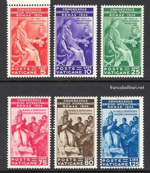 Francobolli rari vaticano Congresso Giuridico Internazionale 1935