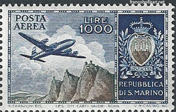 Francobollo raro san marino - Francobollo San Marino: 1000 Lire Aereo 1954