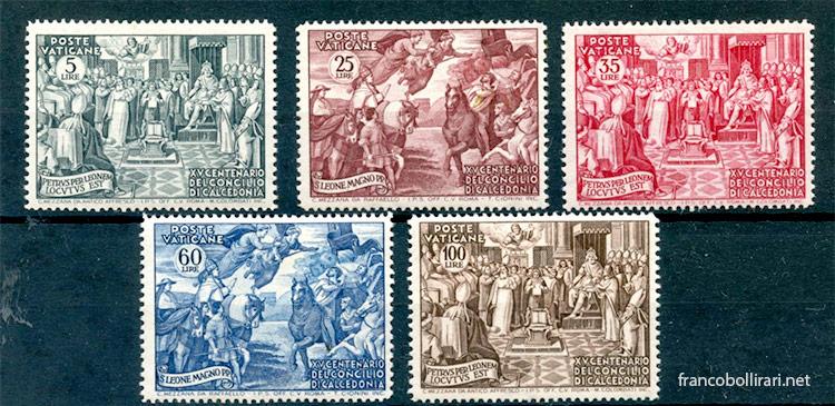 Francobolli rari Vaticano Concilio di Calcedonia 1951
