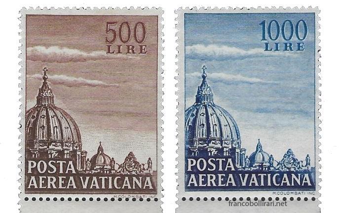 francobolli rari Vaticano Cupola di San Pietro 1953