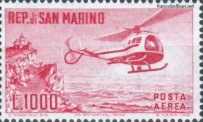Francobolli rari san marino -1000 Lire elicottero 1961