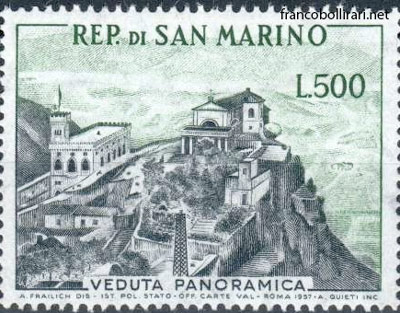 Francobolli rari san marino - 500 Lire veduta panoramica 1958