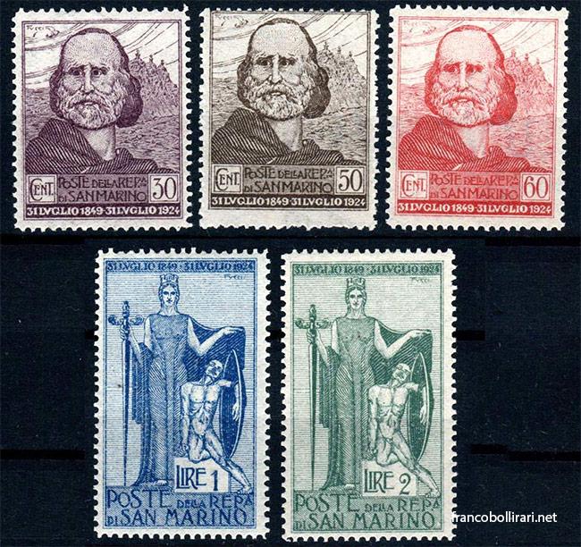francobolli rari san marino Ritirata di Garibaldi a San Marino 1924