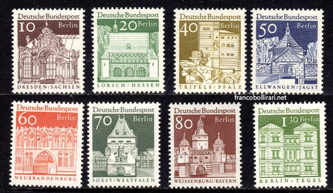 francobolli rari germania Edifici storici 1967 – 1969