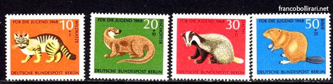 francobolli rari germania Pro gioventù animali selvatici